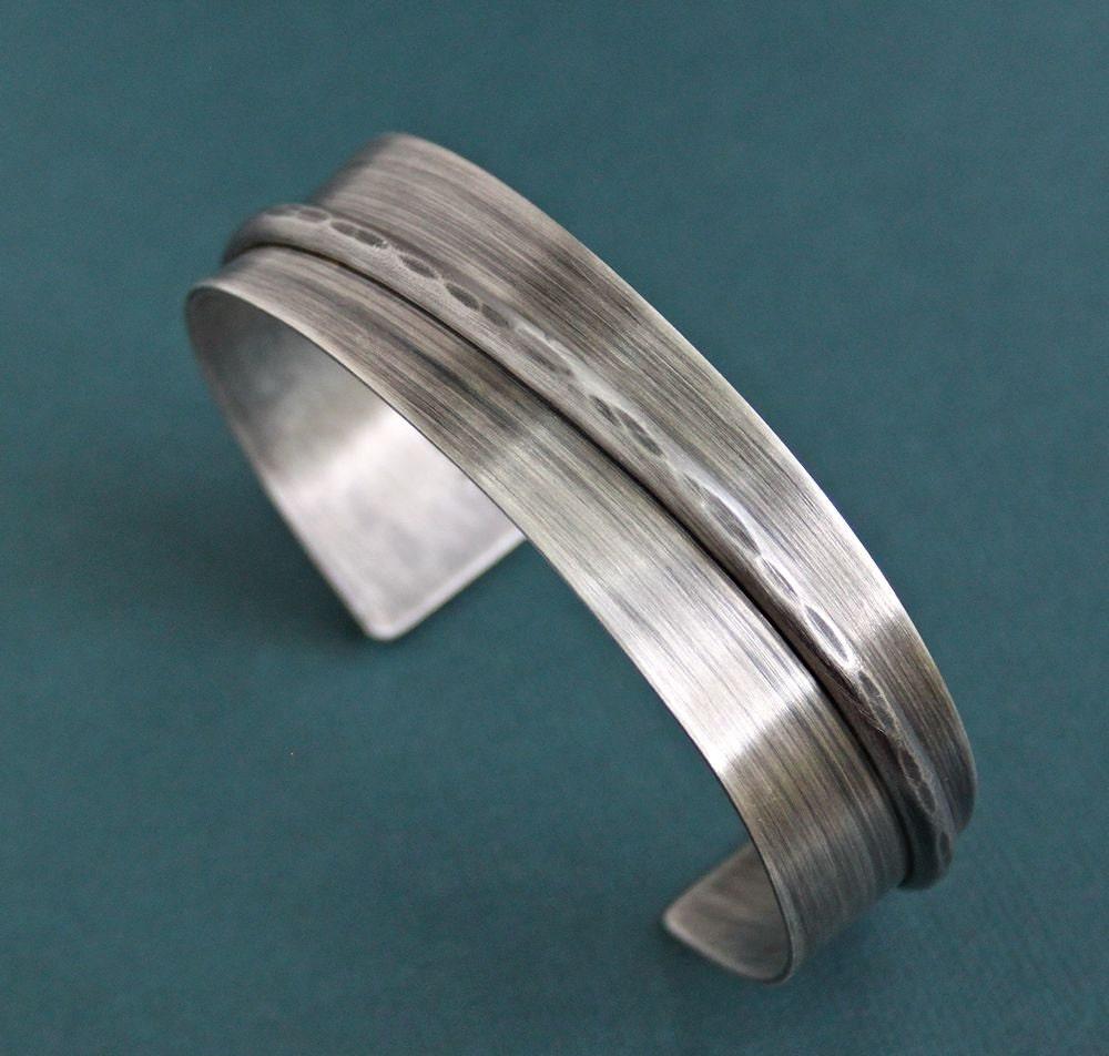Silver Band Bracelet: Mens Silver Cuff Bracelet Rustic Wide Band