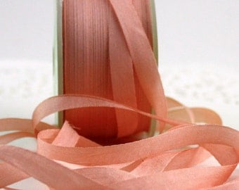 "Peach Silk Ribbon, 1/4"" wide by the yard, Weddings, Gift Wrapping, Ribbon Flowers, Sewing, Peach Silk Trim, Invitations, Boutonnieres"