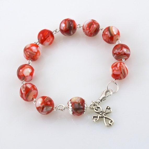items similar to rosary bracelet orange beaded
