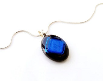 Pendant Necklace, Black Oval with Blue Diamond Shape, Dichroic Glass