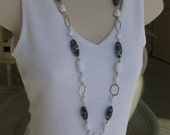 Long Black and White Beaded Necklace, Black and Silver Necklace, Beaded Necklace, Black Necklace, Long Beaded Black and Silver Necklace