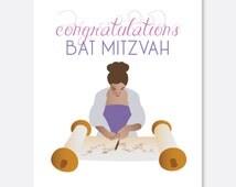 Congratulations Bat Mitzvah Card, Jewish Card, Celebration Card, Jewish Bat Mitzvah