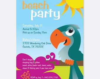 Kid's Birthday Party Invitation, Beach Party Invitation, Summer Party Invitation, Bird Party Invitation, Pool Party Invitation
