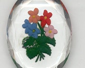 1 Piece- 40mm x 30mm Vintage Glass Intaglio Multi-color Floral Cameo On A Clear  Background (4044)