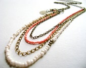 Bohemian style long necklace soft peach ivory multiple chain layered affordable boho chic  style - Only you -