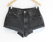 Black Levis High Waisted Shorts Black Levi Shorts Vintage Levi High Waisted Jean Shorts Hight Waist Shorts Denim Cutoffs waist 31
