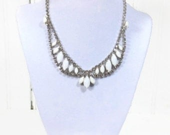 1950s milk glass and rhinestone necklace and clip earrings set