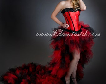 Custom Size Black and Red tulle Burlesque Corset Dress short in the front long train in the back small-XL