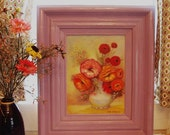 50% OFF Vintage Floral Painting in Large Lavender Frame