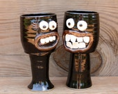 His and Hers Wedding Toast Glasses. Valentines Day Gifts. Awkward Grimace Face Goblets. Stoneware Clay. Dark Chocolate Brown Black.