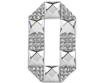 """E1327O Rhinestone Letter Applique O Iron On Patch 2.5"""" Bridal & Clothing Decor Crystal (E1327O)"""