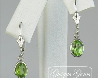 Peridot Sterling Silver Leverbacks 7x5mm 1.60ctw Natural Untreated