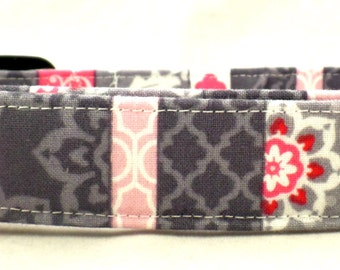 Party Palooza Grey Pink Red and White Striped Floral Polka Dot Dog Collar Gray
