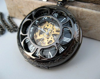 Black and Gold Mechanical Pocket Watch, Watch Chain, (charms listed separately) - Pocket Watch, Groomsmen Gift - Item MPW156