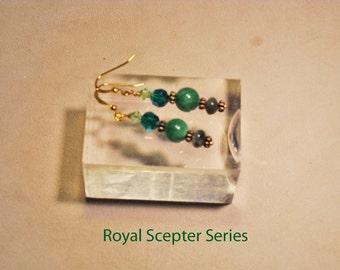 2014 Royal Scepter Series: Jade beads, crystal beads, and fancy jasper rondelle beads earrings