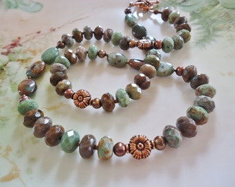 African Green Opal and Copper Necklace Earring Set
