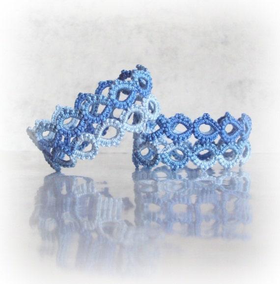 Nautical Blue Napkin Rings in Tatting, Geometric  - Marie - Set of Two