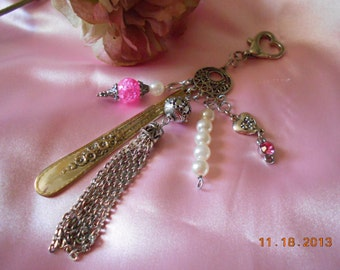 Purse Charm  Clip Key Ring  Finder, Jewelry Beaded Pink and Silver, Vintage Spoon Handle