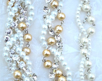 Bridesmaid Necklace, Pearl, Rhinestone and Ribbon Color Your Choice, Swarovski Junior Bridesmaid Wedding Jewelry Champagne Pearl with Silver