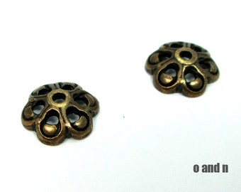 Antique brass flower bead caps, 12mm, 6 pieces
