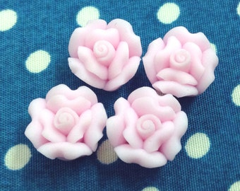 6 Pcs 12mm Polymer Flower Bead - Pale Pink