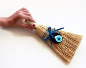 Small Whisk Broom, Spritual Home Decor for Evil Eye for Ridding Your Home Of Negative Energy, Blue Glass Eye Bead, Housewarming Gift