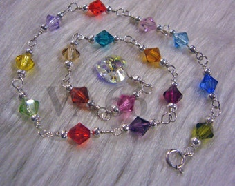 925 Sterling Silver Swarovski Crystal Anklet Colours 14k gold filled U Choose Color Plus Size Child size custom made