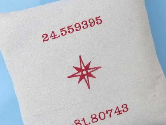 nautical pillow, embroidered pillow, longitude latitude pillow, coordinates pillow