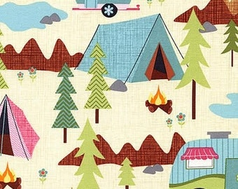 Camping Fun Fabric Timeless Treasures Snowy Trailer Tents Wilderness on Cream