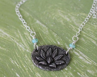 lotus necklace,hand wire wrapped, yoga style