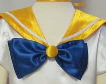 Sailor Venus Moon Scout Collar Cosplay Costume Anime Accessory Yellow Orange Gold Collar Blue Bow Child Size