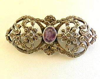 Amazing antique brooch 1940 - Italian high quality - 925 italian Silver,genuine amethyst and marcasite--Art.910/2-