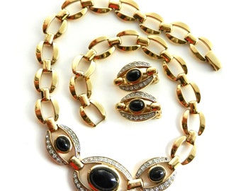 Very Fabulous  onyx and crystals Necklace & earrings set - Italian jewel 1970- High Quality -- art.167/3-