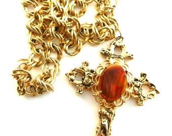 discounted sale 1960s necklace with crucifix pendant - antique cross pendant Decorative Art Glass oval cabochon  -- art.335 --