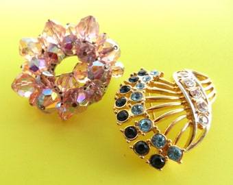 1960s Vintage Italian - Two glamor and bright crystals Brooches -color and light to a timeless style -- brooch Liberty - 2 Pcs- Art.365/3---