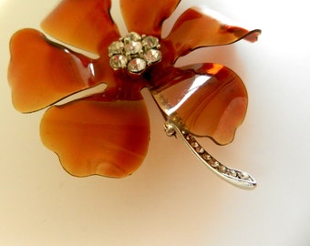 WOW 1960s Great flower brooch large transparent petals - Lucite brown and crystals FLOWER POWER --art.436/3-