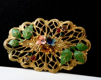 Lovely scalloped Victorian filigrees Old Brooch  with colored rhinestone ,enamelled leaves and flowers -- Art.283 -