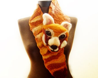 Red Panda felted eco friendly animal scarf