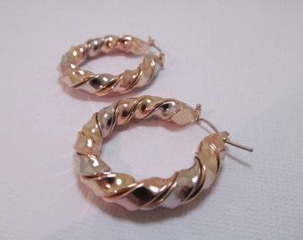 14K Gold Earrings Twisted Hoops