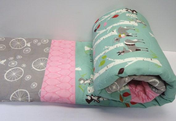 Modern baby girl quilt organic rustic crib bedding birch - Modern baby girl crib bedding ...
