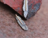 Cute Tribal Feather Stud Earrings Dark Silver Gold - Raven Fluffies - NangijalaJewelry