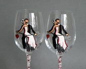 Hand painted Wedding Toasting Flutes Set of 2 Personalized WINE glasses Married on bicycle