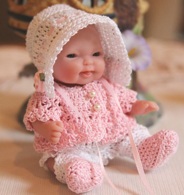 Pdf Pattern Crochet 5 Inch Berenguer Baby Doll Sun Bonnet Set