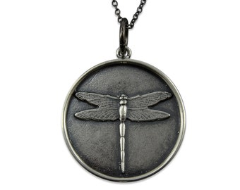 Silver Dragonfly Pendant, Dragonfly Necklace, Large Silver Pendant, Long Silver Necklace, Dragon Fly Jewelry