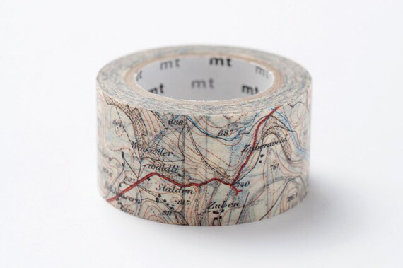 Map - Japanese mt ex Washi Masking Tape, Scrapbooking, Collage, Gift Wrapping -  MTEX1P62