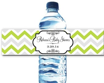 10 Waterproof Peel & Stick Water Bottle Labels, Chevron Stripes, Wedding,  Bridal, Baby Shower, Birthday Party, Lots of Colors