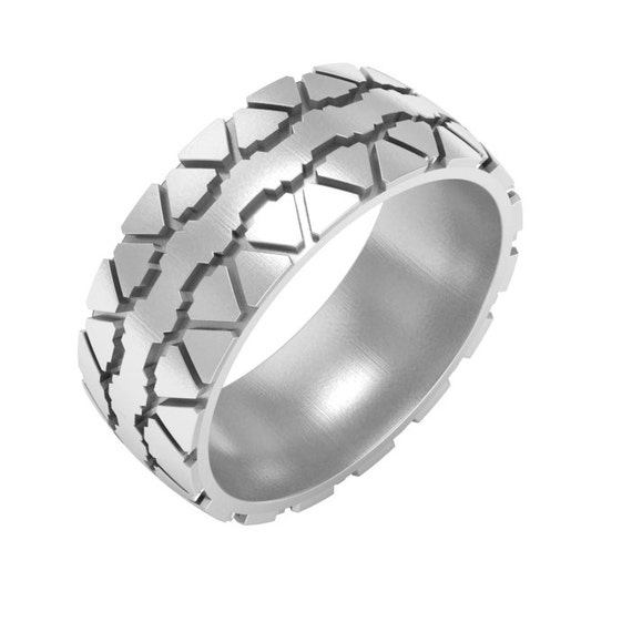 Tire Tread Wedding Band Ring Silver Tire Ring Gold Tire By ASHYL