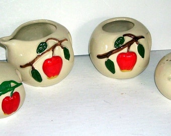 Vintage American Bisque co. Pippin Apple Open Sugar, Creamer Salt and Pepper Shakers, Red Apple Pottery, Housewares, Serving, Shakers