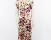 Vintage Dress - Gorgeous 1940s Long Dress - Full Length Gown in Silk Satin Floral Print