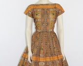 1950s Vintage Dress - Novelty Print Cotton Full Skirt Dress - Jonathan Logan - 36 / 28 / full